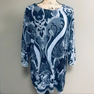 Chico's Shimmery Blue & Silver Tunic Sweater